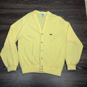 Lacoste Yellow Cardigan Sweater M